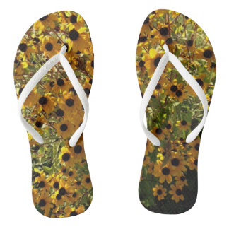 Black Eyed Susan Yellow Flowers Green FlipFlops