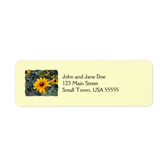 Black-Eyed Susan Yellow Return Address Labels