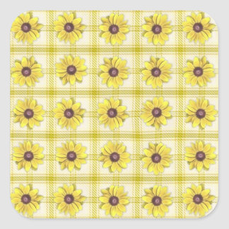 Black Eyed Susans and Plaid Square Stickers