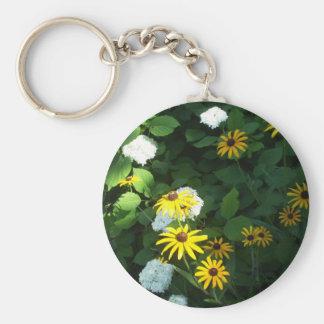 Black Eyed Susans Basic Round Button Key Ring