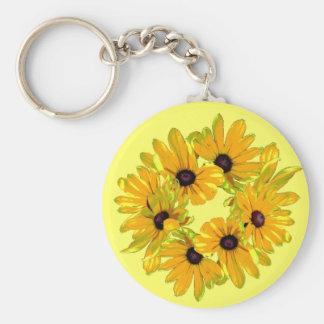 Black-eyed Susans Basic Round Button Key Ring