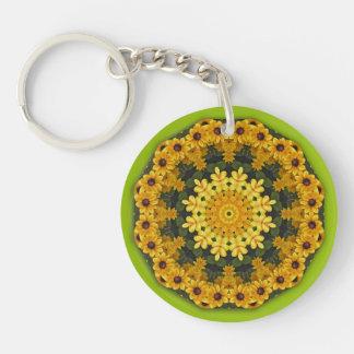 Black-eyed Susans, Floral mandala-style Double-Sided Round Acrylic Key Ring