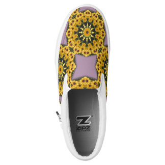 Black-eyed Susans, Floral mandala-style Slip-On Shoes
