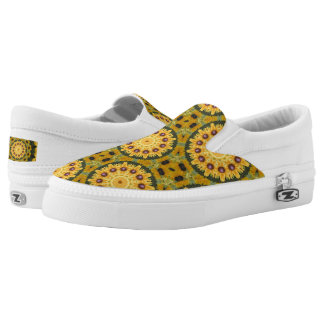 Black-eyed Susans, Floral mandala-style Slip On Shoes