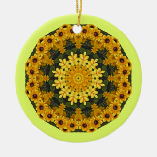 Black-eyed Susans Nature, Flower-Mandala Christmas Ornament