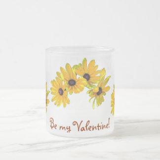 Black-eyed Susans Valentine Frosted Glass Mug