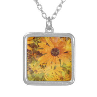 Black Eyed Susan's Wildflower Abstract Design Square Pendant Necklace