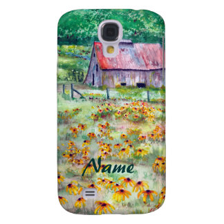Black-Eyed Susans Wildflower Barn Watercolor Galaxy S4 Cover