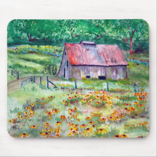 Black-Eyed Susans Wildflower Barn Watercolor Mouse Mat