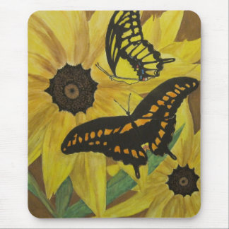 black eyed susan's with butterflys-watercolor mouse mat