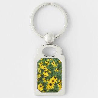 Black Eyed Susans Yellow Green Keychain