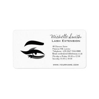 Black Eyeliner lash extension henna make up icon Address Label