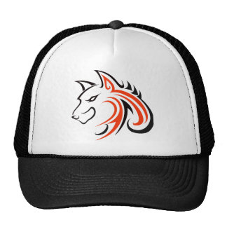 Black Eyes and Black Ears with Orange Wolf Head Ou Cap