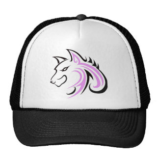 Black Eyes and Black Ears with Pink Wolf Head Outl Cap