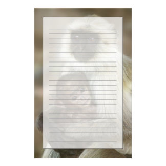 Black-face Langurs, mother with baby, in Personalized Stationery