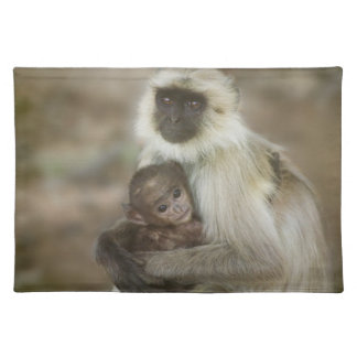 Black-face Langurs, mother with baby, in Placemat