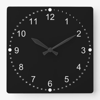 Black Face - White Numbers Square Wall Clock