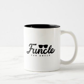 Black Fade letters Funcle Fun Uncle with eyeglass Two-Tone Coffee Mug