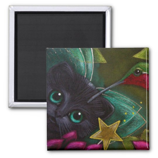 BLACK FAIRY KITTEN CAT & HUMMINGBIRD Magnet