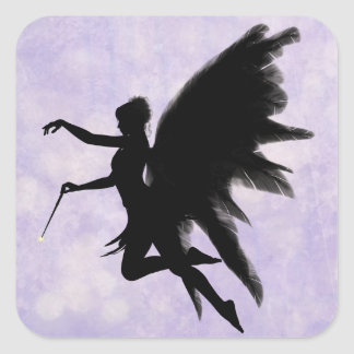 Black Fairy, Purple Background Sticker