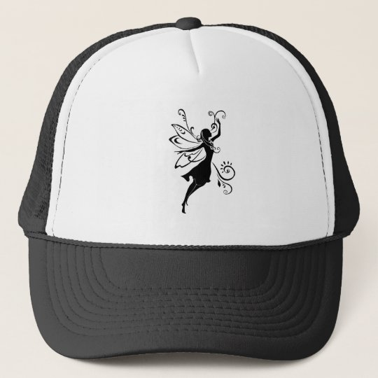 Black fairy trucker hat