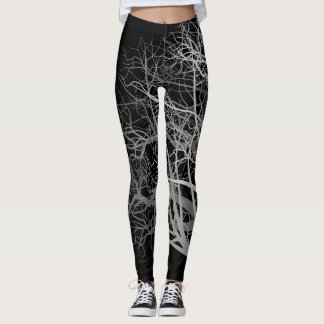Black Fall Trees Leggings