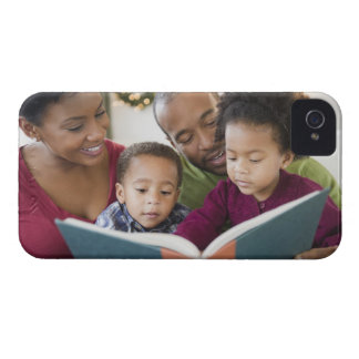 Black family reading book together iPhone 4 case