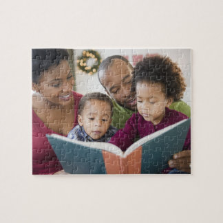 Black family reading book together jigsaw puzzle