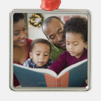 Black family reading book together Silver-Colored square decoration