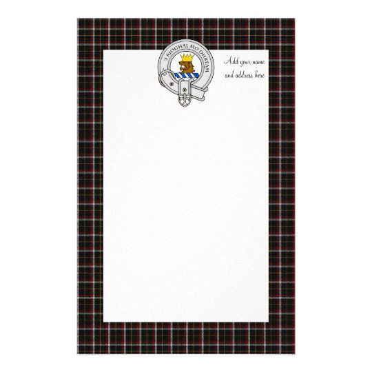 Black Family Tartan Plaid & Clan Crest Stationery