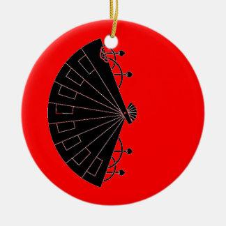 Black Fan japanese vintage ornament