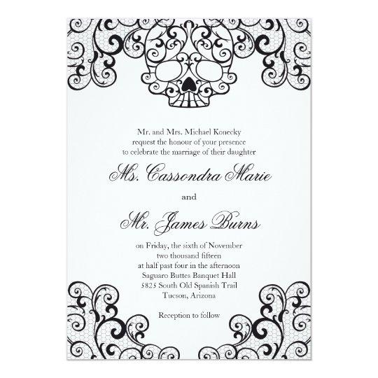 Black Fancy Lace Skull Wedding Invitation