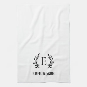 Black Farmhouse Branch Monogram | Editable Colours Tea Towel