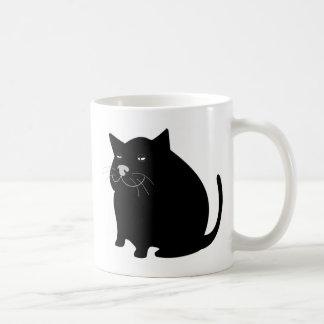 Black fat cat basic white mug