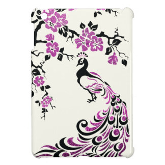 Black, faux fuchsia foil peacock & cherry blossoms iPad mini covers