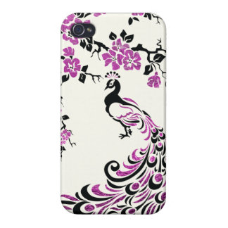 Black, faux fuchsia foil peacock & cherry blossoms iPhone 4 covers