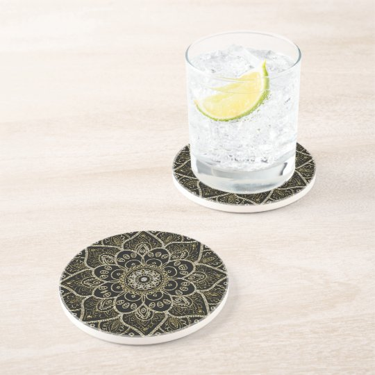 Black Faux Glitter And Gold Floral Mandala Coaster