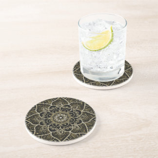 Black Faux Glitter And Gold Floral Mandala Drink Coaster