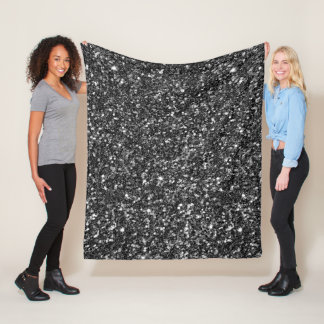 Black Faux Glitter. Fleece Blanket