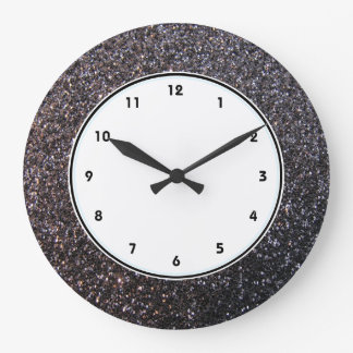 Black faux glitter graphic large clock