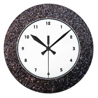Black faux glitter graphic wall clocks