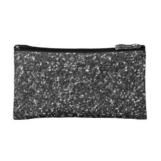 Black Faux Glitter & Sparkles Cosmetic Bag