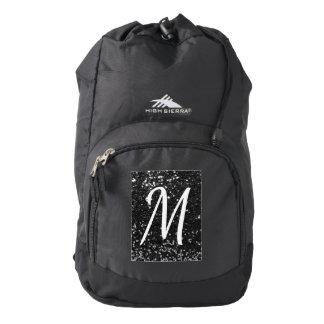 Black Faux Glitter White Custom Initial Backpack