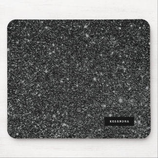 Black Faux Glitter & White Sparkles Background Mouse Mat