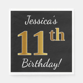 Black, Faux Gold 11th Birthday + Custom Name Disposable Napkin