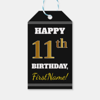 Black, Faux Gold 11th Birthday + Custom Name Gift Tags