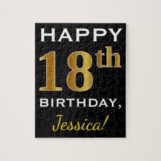 Black, Faux Gold 18th Birthday + Custom Name Jigsaw Puzzle