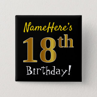Black, Faux Gold 18th Birthday, With Custom Name 15 Cm Square Badge