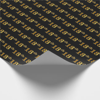 Black, Faux Gold 18th (Eighteenth) Event Wrapping Paper