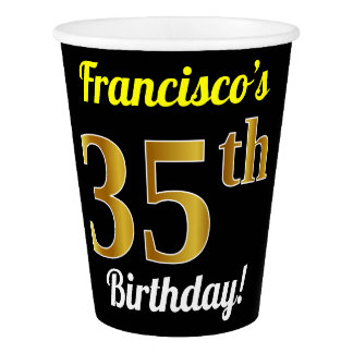 Black, Faux Gold 35th Birthday + Custom Name Paper Cup